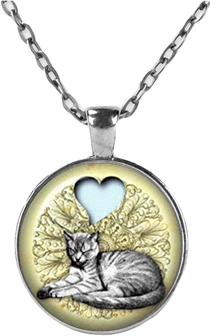 LOVE MY CAT Necklace, grey cat Jewelry, kitten gift for women, cat jewerly cat gift idea animal Pendant