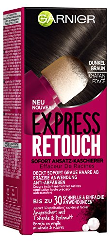 Garnier Express Retouch Sofort Ansatz-Kaschierer in Dunkelbraun, deckt graue Haaransätze präzise ab, mit Schwamm-Applikator, 10 ml