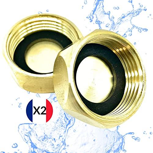 BYMEO Tapón Radiador / Tapón Latón Hembra [20/27 = 3/4] Ideal Grifo Radiador - Lavavajillas - Lavavajillas / Empalme de Plombería Calidad Profesional Incluye 2 juntas gruesas reforzadas.