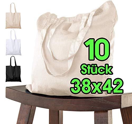Baumwolltasche 38x42 cm 10 Stück unbedruckt, zwei lange Henkel OEKO-TEX® zertifiziert Stofftasche, Tragetasche, Baumwollbeutel, Einkaufstasche, Jutebeutel, Stoffbeutel Einkaufsbeutel zum bemalen Natur