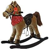 sport1-cavallo a dondolo rodeo in legno e morbido tessuto con effetti sonori, colore marrone chiaro