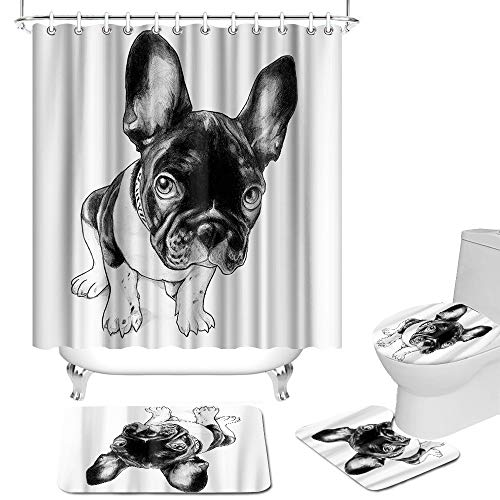 OuElegent 4 Pcs French Bulldog Shower Curtain Sets Cute Pet Animal Bathroom Decor Black White Fabric Curtain with Non-Slip Rugs Toilet Lid Cover and Bath Mat
