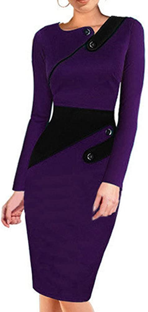 Women Elegant Long Sleeve Patchwork Hem Buttons Bodycon Business Dress