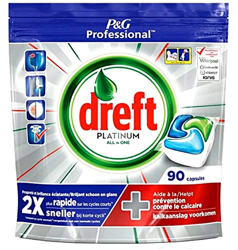 NEW DREFT Professional Platinum Spülmaschinentabs Spültabs Kapseln - All-In-One - 90 Stück