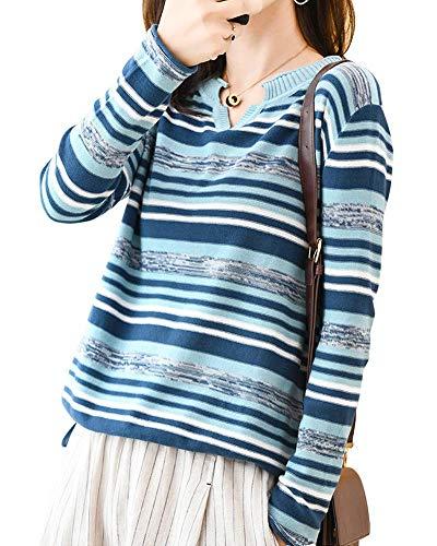 [セカンドルーツ] Vネック マルチ ボーダー ニット ぼーだー 柄 薄手 薄 うすで レディースニット シンプルニット ニットセーター ニットソー ニットトップス プルオーバー 春 秋服 秋 秋物 秋冬 冬 はる あき ふゆ 3シーズン トップス 長袖 ながそで 長そで 可愛い かわいい おしゃれ 10 20 30 40 50 60 代 青 あお vネック ボーダーニット ブルー R06-BL