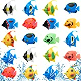 Weewooday 20 Pieces Artificial Moving Fishes Plastic Floating Fishes Lifelike Fish Ornament Aquarium Decorations for...