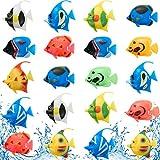 Weewooday 20 Piezas Peces Artificiales Movimiento Peces Flotantes de Plástico Adorno de Pez Realista Decoraciones de Acuarios para Pecera (Pescado al Azar)