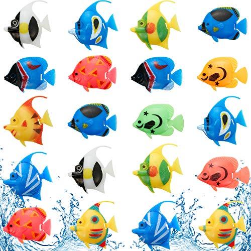 Weewooday 20 Stück Künstliche Bewegliche Fische Plastik Schwimmende Fische Lebensechte Fisch Verzierung Aquarium Dekorationen für Aquarium (Zufälliger Stil)
