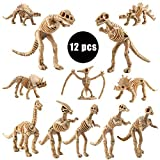 Toys Gifts for 3-12 Year Old Boys, Kids Dinosaur Fossil Skeleton Toy (12 Pieces) Assorted Figures Dino Bones, 3.7 Inch - Party Favor & Decorations.