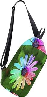 Crossbody Sling Backpack Rainbow Flower Beauty Chest Shoulder Bags Multipurpose for Men/Women