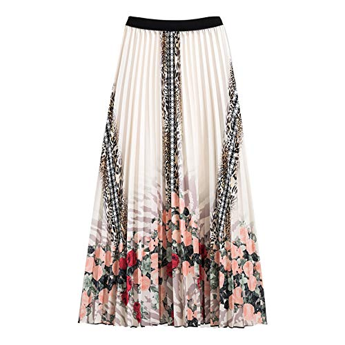 OutTop Pleated Skirts for Women Floral Print Elastic Waist A Line Skirt Leopard Striped Color Block Midi Dresses (Pink, Waist:23.62''-35.43''/Length:29.53'')