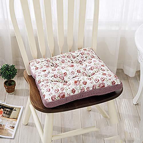 QYDF Office chair cushion Thick elastic seat cushion 100% Cotton Plant Flower Cushion Tatami cushion Seat Cushion,16,40X40cm