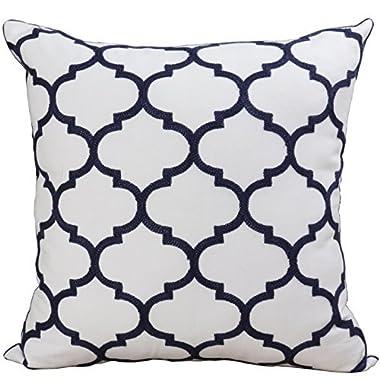 Bridgeso Minimalist Throw Pillow Cover Pillowcase Cotton Linen Blend Trellis Chain Quatrefoil Pattern embroidered Cushion Shell, 1 Piece, 18  x 18  (45 x 45cm), Quatrefoil-Navy