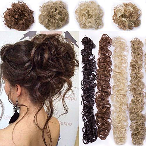 XXXL Haarverlängerung Haarteil Haargummi Hochsteckfrisuren VOLUMINÖS Gelockt unordentlicher Dutt Ponytail Hair Extension Lang Pferdeschwanz Dunkelbraun