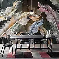 3D写真カラー羽葉壁紙寝室リビングルーム背景壁画壁画紙200X140Cm