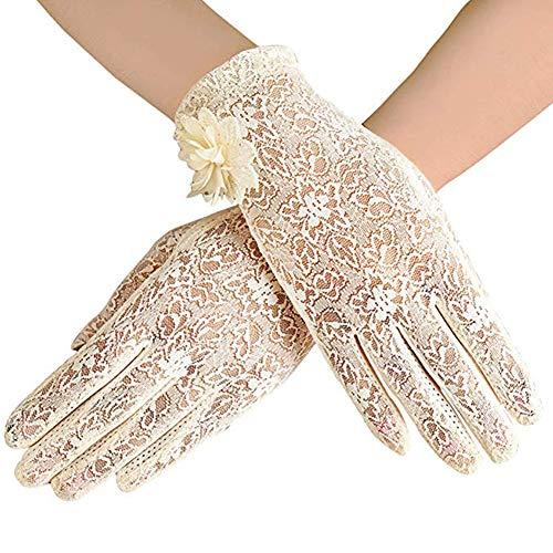 REYOK Damen Lace Handschuhe Satin Braut Hochzeit Spitze Handschuhe Opera Fest Party Handschuhe 1920s Handschuhe Damen Kostüm Accessoires spitzenhandschuhe Brauthandtuche