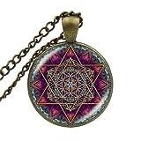 Collar con colgante de flor de la vida con forma de cubo de metatron con geometría sagrada y chakra, collar espiritual, joyería para mujeres y hombres, gargantilla