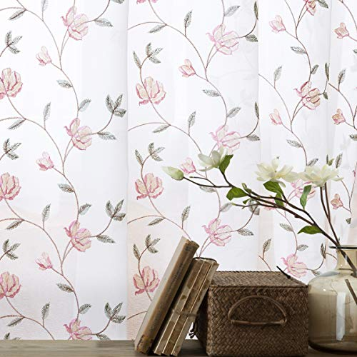 Floral Embroidered Sheer Curtains for Bedroom Drapes Sheer Curtains for Living Room Embroidery Curtain Panels Rod Pocket 63 inches Long 2 Pieces, Pink