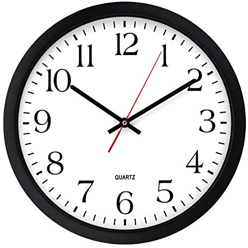Bernhard Products Black Wall Clock, Silent Non Ticking - 16 Inch Extra Large Quality Quartz Battery Operated Round Easy to Read Home/Office/Business/Kitchen/Classroom/School Clock