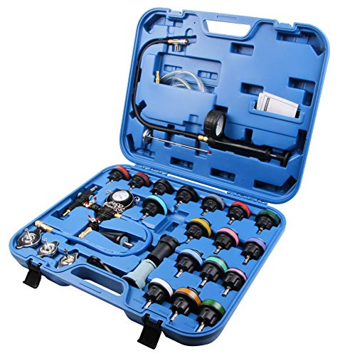 LLCTOOLS 28-TLG Kühlsystem Tester Kühlmittel Pumpe Prüfgerät Testkoffer Druckluft Werkzeug Kfz Abdrückgerät