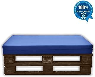 comprar comparacion MICAMAMELLAMA Asiento para Sofá de Palet Exterior e Interior - Funda Náutica Azul - Espuma HR Alta Densidad - Grosor 12cm