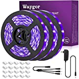 50ft LED UV Black Light Strip Kit - Waygor UV LED Light Strip 395nm to 405nm Black Light UV LED Strip Light, 12V Flexible Blacklight Fixtures, Non-Waterproof for Dance, Party, Stage Light, Body Paint
