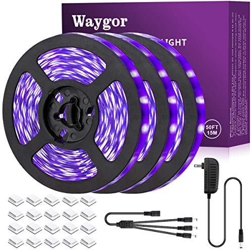 50ft LED UV Black Light Strip Kit - Waygor UV LED Light Strip 395nm to 405nm Black Light UV LED Strip Light, 12V Flexible Blacklight Fixtures, Non-Waterproof for Dance, Party, Stage Light, Body Paint