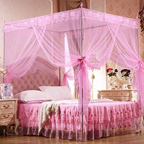 Bluelans® - Moustiquaire à 4 angles pour lit jumeau, double, Queen-size et King-size, rose, King Size