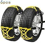 冬の必需品 Sanato 非金属タイヤチェーン 簡単取り付け サイズ調節可能 165mm-265mmまでタイヤに対応 (イエロー)