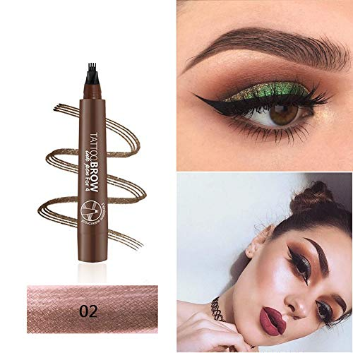 3D Tattoo Eyebrow Pen with Four Tips, Aesy Microblading Eyebrow Marker Long-lasting Waterproof Smudge Proof Brow Gel for Eyes Makeup 1 Pack (Medium Brown)