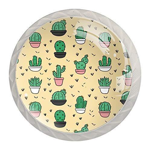 Pomos de cactus de dibujos animados para cajones de aparador, 30 mm, tirador de cristal, hogar, oficina, dormitorio, sala de estar y baño