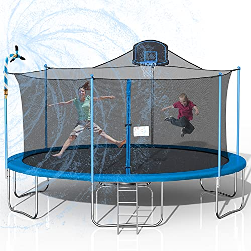 Tatub 1000LBS 16FT Trampoline for Kids, Outdoor Trampoline with Safety Enclosure Net Basketball Hoop and Ladder, Trampoline for Adults (Sky Blue)