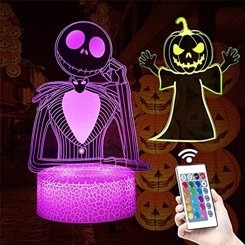 Town Pumpkin King Jack Skellington lámpara LED 3D ilusión visual escritorio decoración juguetes para niños, 7 años de edad, regalo niño edad 7 6 5 4 3