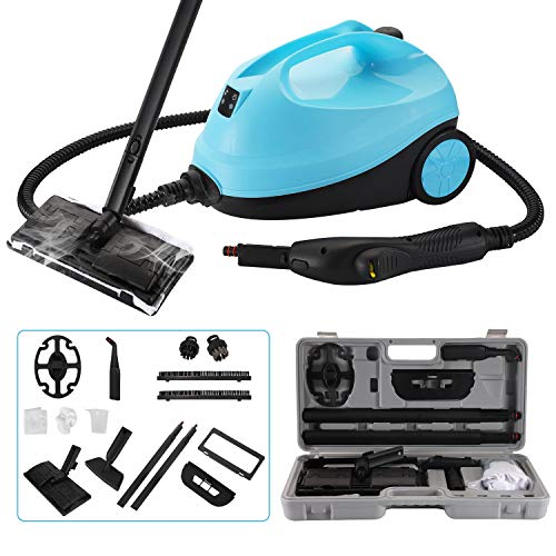 CGOLDENWALL Multi-Purpose Steam Cleaner 2000W Adjustable Heavy Duty Rolling Cleaning Machine Home Steamer for Floor Carpet with 12 Accessories (Blue, with Storage Box)