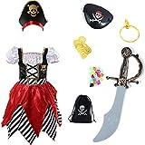 Sincere Party Disfraz de pirata para niñas Pirata Bucanero Princesa Vestido de lujo con espada, bolsa de pirata, parche en el ojo y sombrero 8-10 años