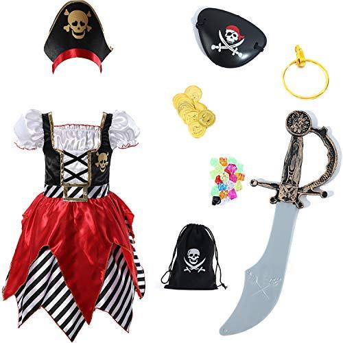 Sincere Party Disfraz de pirata para niña, vestido de princesa con espada, bolsa pirata, parche para los ojos y sombrero, 5-6 años