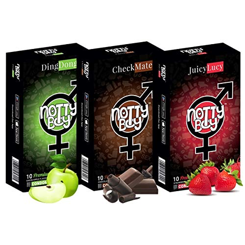 Notty Boy flavoured condoms for mens dotted for oral. Pack of 30 pcs (Combo Pack) Chocolate, Strawberry, Green Apple