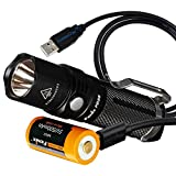 Fenix PD25 550 Lumens CREE XP-L LED Pocket Flashlight with Fenix Rechargeable Battery (Built-In USB Charging Port) and LumenTac Charging Cable