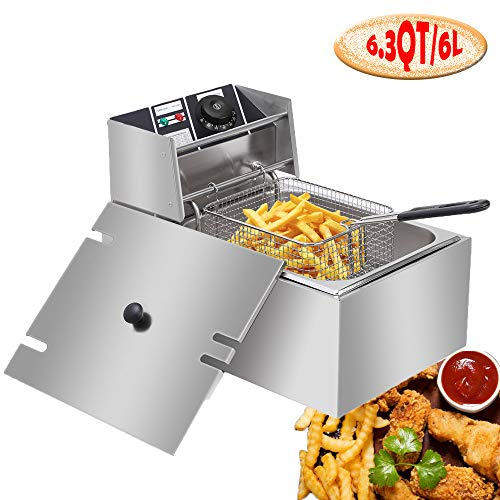 Professional-style Deep Fryer with Basket, 2500W 6L Stainless Steel Electric Commercial Deep Fryers for Turkey French Fries Home Kitchen Restaurant, Total Capacity 6.3QT/6L (6L)