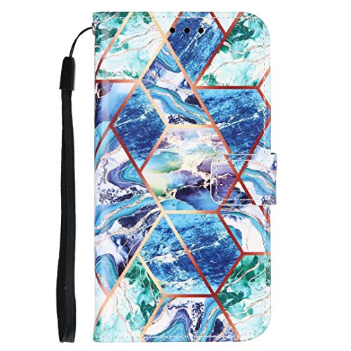 Huawei P30 Pro Hülle, Stoßfest Marmor Stein Muster PU Leder Flip Wallet Handyhülle TPU Bumper Schutzhülle mit Kartenhalter Magnetverschluss Kickstand für Huawei P30 Pro blau-grün