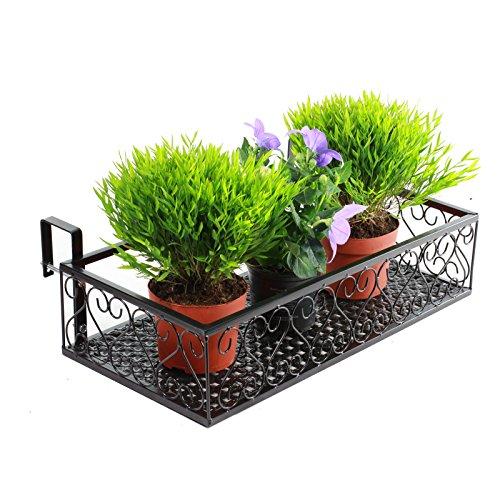 Balkonübertopf,schwarzer Metallkorb für Blumen, Maße: 50x 25x 12cm