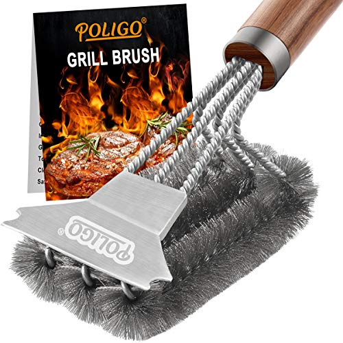 POLIGO Grill Brush and Scraper - Safe Stainless Steel Wire Bristles BBQ Brush Cleaner for Gas Infrared Charcoal Porcelain Grills - Best Gift Grill Cleaning Brush for Grill Wizard Grate Cleaner