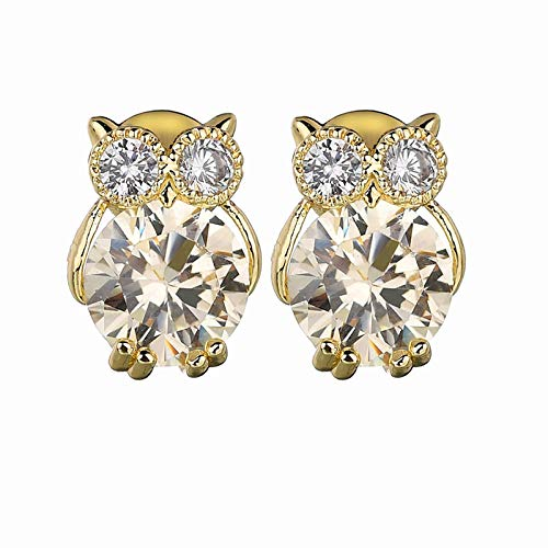 Owl earrings high quality AAA zircon copper inlaid simple cartoon fashion all-match earrings-goose yellow 14K gold
