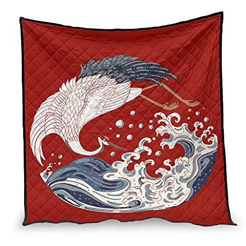 Yzanswer Colcha de cama japonesa con grúa y olas calmante y transpirable para decoración del hogar, sofá, 130 x 150 cm