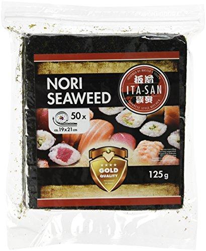 ITA-SAN Nori Gold Algenblätter, ganze Blätter, gerösteter Seetang, ideal für Sushi, vegan, halal, glutenfrei, 50 x 2,5 g