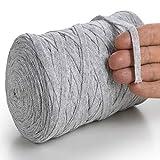 MeriWoolArt Baumwollgarn für Stricken, Makramee, Häkeln, Weben, Geschenkband für Weihnachten - 10 mm Textilgarn, 150 m T-Shirt Garn - Neue Qualität (Asche)