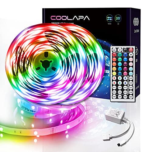 20M Tira LED, COOLAPA Luces LED RGB 5050 12V, Iluminación de ambiente, Control Remoto de 44 Teclas para Decoración...