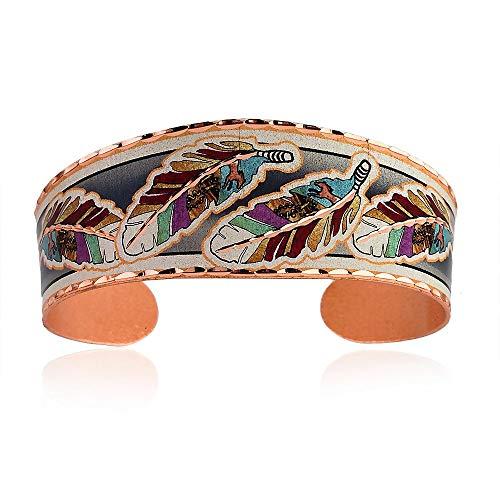Pulseras de plumas para mujeres y niñas en varios estilos y colores, joyería nativa americana, pulseras de cobre hechas a mano