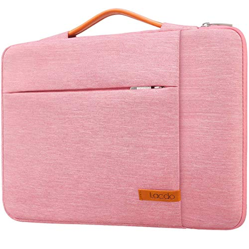 Lacdo 360° Protective Laptop Sleeve Case for 13 inch New MacBook Pro A2251 A2289 A2159 A1989 A1706 A1708/13' New MacBook Air A2179 A1932, 12.9' New iPad Pro 3rd 4th Water Repellent Notebook Bag, Pink