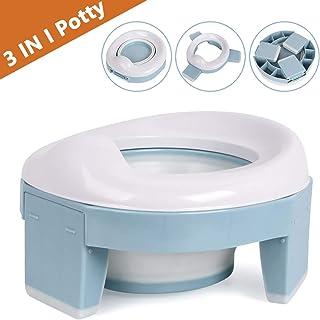 Asiento Inodoro Plegable para Niños 3 in 1 Orinal Portátil Reductor WC para Bebé con Piezas a Prueba de Salpicaduras Adaptador pare Casa y Viaje (Azul)